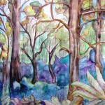 Painting of forest in mount dandenong, victoria.