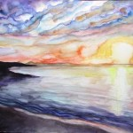 Paitning of a sun setting over a beach, brilliant skies, Victoria