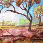 Painting of trees and distant landscape with fallen branches in foreground, Terrik Terrik national park