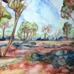 Painting of the parched ground and mallee trees at Terrik Terrick NP