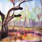 Painting of a twisted burned river red gum tree at Barmah on the murray river.