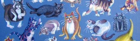 Coloured pencil drawing of cats drawn cartoon style in many cat poses.
