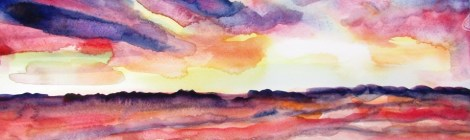 Watercolour painting of a red and pink and blue sunset reflected in a beach