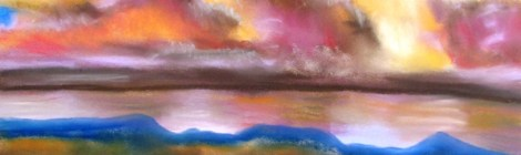 Pastel painting of a sunset over water