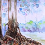 watercolour painting of a closeup of the bark at the base of a eucalpytus tree