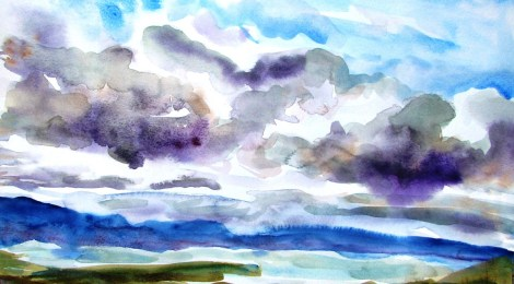 A watercolour painting of a distant view of a lake at the Grampians, Victoria