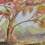 watercolour painting of a gum tree