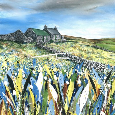 Brindister Avril Thomson Smith acrylic croft house painting