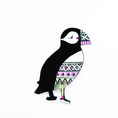 Fair Isle Puffin LG Purple Green