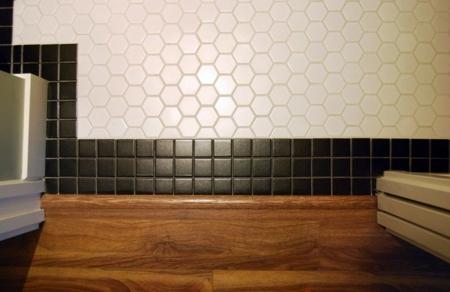 combination of floor tiles and hardwood