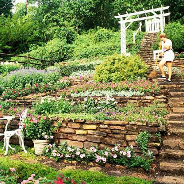 Landscaping on a slope - How to make a beautiful hillside ... on Garden Ideas For Sloping Gardens id=43785