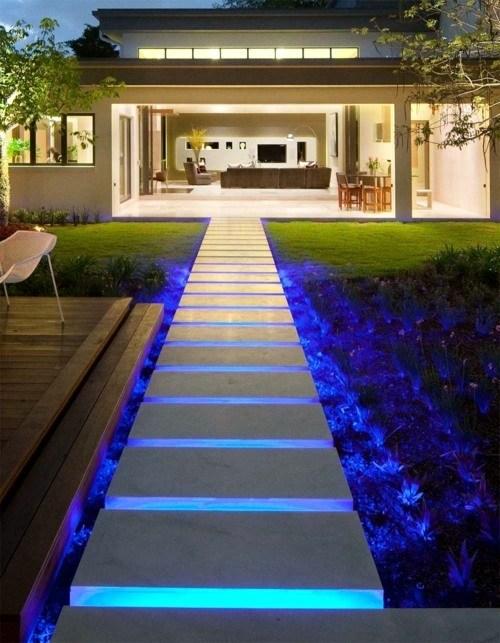 Cool Interior Design Ideas For Modern Outdoor Stairs With Lighting | Modern Stairs Design Outdoor | Indoor | Prefab Metal Residential Exterior | Terrace | Metal | Railing