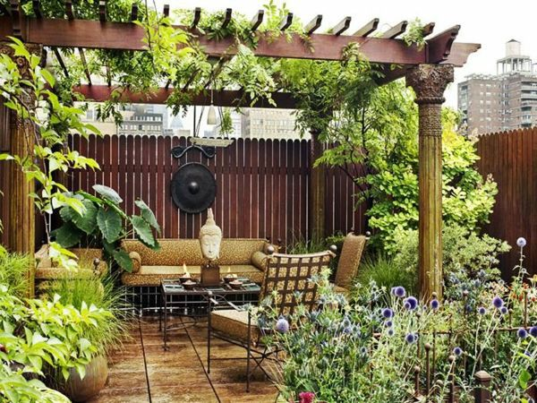 Covered terrace - 50 ideas for patio roof of modern houses ... on Terraced House Backyard Ideas id=26933