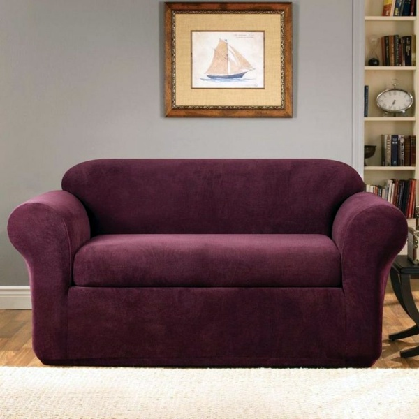 Dark Purple Sofa Slipcover