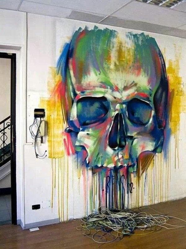 Painting walls     35 interior design ideas for amazing wall     Art   scary  but very colorful Painting walls   35 interior design ideas  for amazing wall decoration
