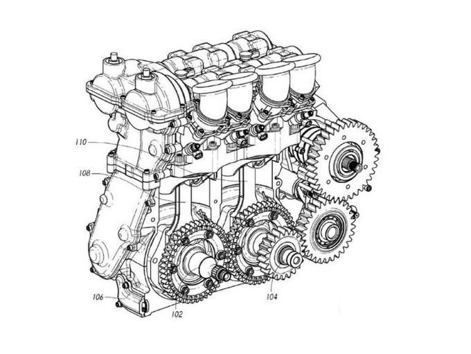 Nova konstrukcija motorja, ki jo predstavlja predvsem v ZDA dobro poznani Dan Gurney, zelo spominja na Bugattijev letalski motor U-16.