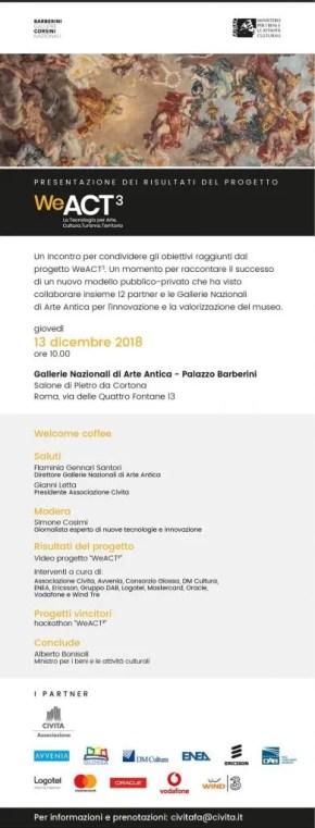 weact poster presentazione evento 13 Dicembre 2018 Avvenia Barberini Gallerie Corsini