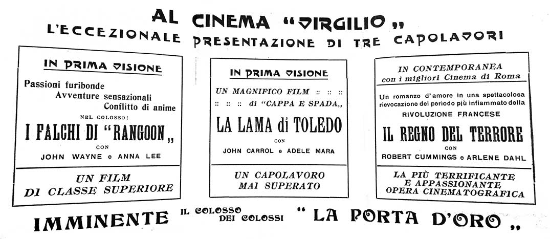 3 film al Cinema Virgilio (1950)