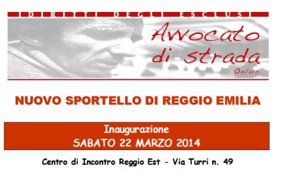 A Reggio Emilia apre un secondo sportello di Avvocato di strada