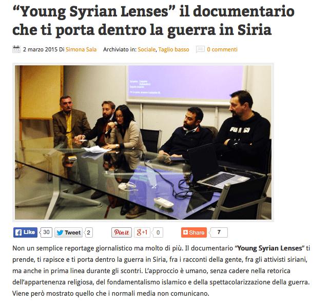 """""""Young Syrian Lenses"""" il documentario che ti porta dentro la guerra in Siria"""