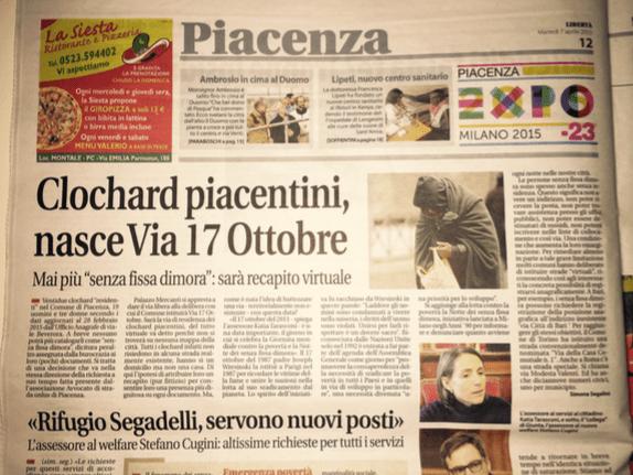 Clochard piacentini. Nasce via 17 ottobre.
