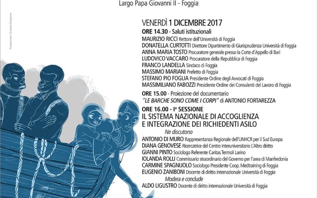 """Foggia, 1 e 2 dicembre: """"Politiche migratorie, protezione internazionale e lavoro"""""""