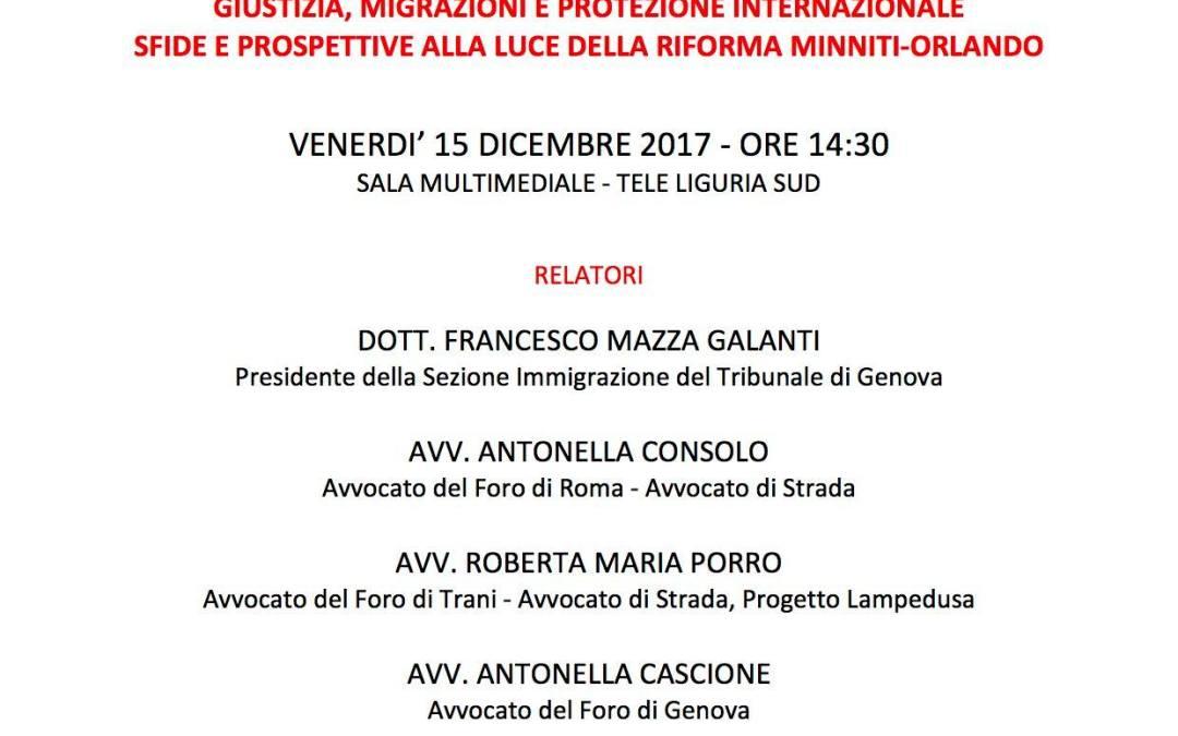 """La Spezia, """"Giustizia, migrazioni e protezione internazionale: sfide e prospettive alla luce della riforma Minniti-Orlando"""""""