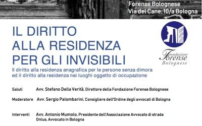 """10.05.18 Bologna, """"Il diritto alla residenza per gli invisibili"""""""