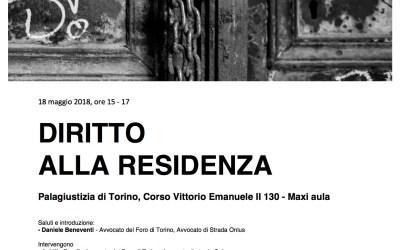 """18.05.18 A Torino il convegno """"Diritto alla residenza"""""""