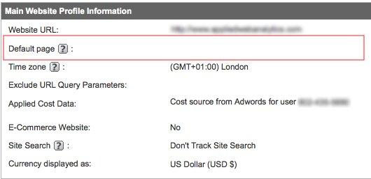 Google Analytics Default Page Setting - Correct