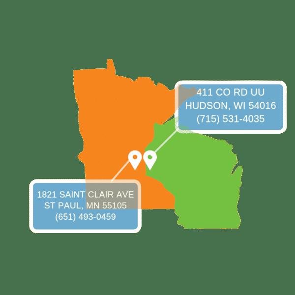 Visit us at 1821 Saint Clair ave Saint Paul, MN 55105 or 411 County RD UU Hudson, Wi 54016