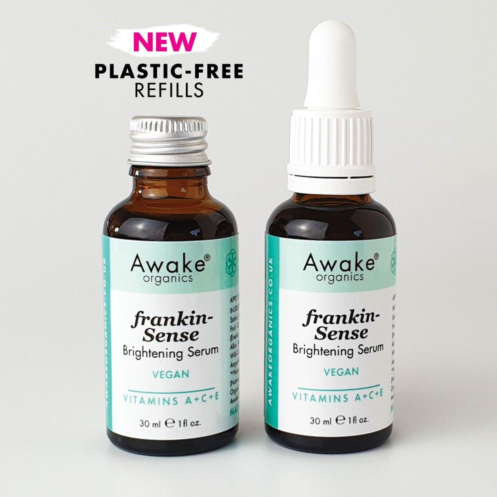 plastic free packaging | frankincense brightening | natural vegan face serum | UK | cruelty free | paraben free | dry | mature skin | awake organics | natural skin care brand UK | main image 3