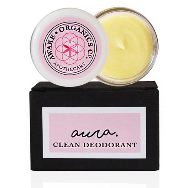 Travel Size Aura Clean Deodorant. Convenient, Portable Natural Deodorant That Works. Organic. By Awake Organics.