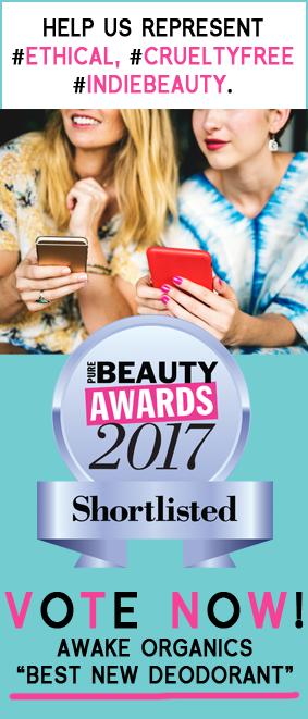 Pure Beauty Awards 2017. Shortlist. Awake Organics Best New Deodorant. Organic, Cruelty free, ethical, indie brand. Made in England, green beauty.