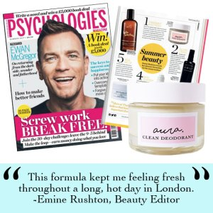 As Seen in Psychologies Magazine, You Magazine. Vegetarian Living, Daily Mail, Pebble Magazine, You Beauty Box. Best of British. Aura Clean Deodorant. Natural Deodorant That Works. Organic. By Awake Organics. Press. New. YouMagSocial. Daily Mail Online. Sunday Mail, Red Online, The Green Parent. Winner 2017 Natural Beauty Awards.