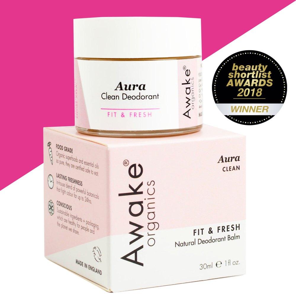 Aura clean   natural deodorant UK   cruelty free   aluminium free deodorant   paraben free   awake organics   natural skin care brand UK   main image