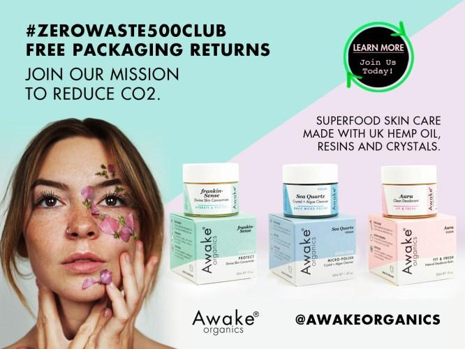 zero waste packaging returns | Awake Organics | #zerowaste500club