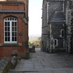 The view between the chapel and library