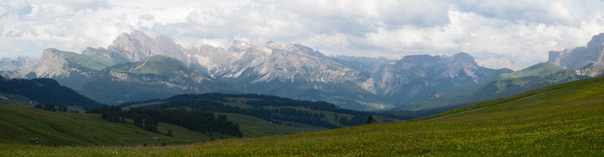 Pretty Alpe di Siusi with Dolomites in the background