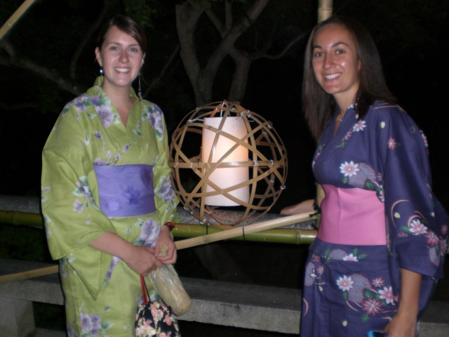 Kendra and I by a lantern
