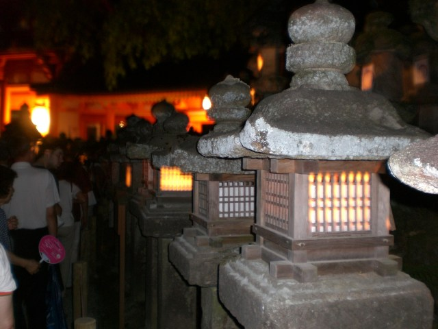 The stone lanterns on the way to Kasuga Taisha