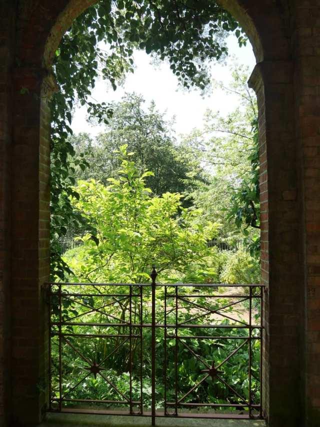 The view underneath the pergolas