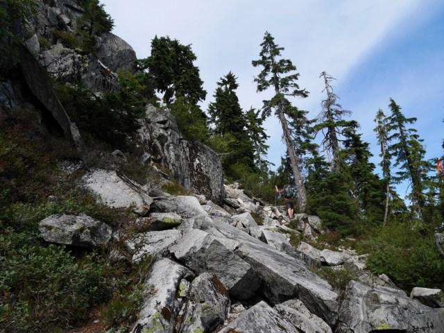 Steep rocks to scramble up on coliseum mountain