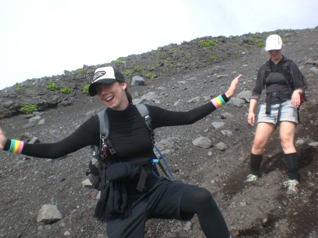 Sliding down Mount Fuji