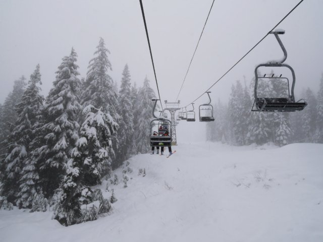 Ski chairlift on Mount Seymour