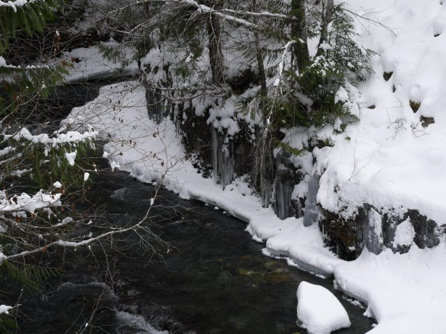 Icy river near Brandywine Falls