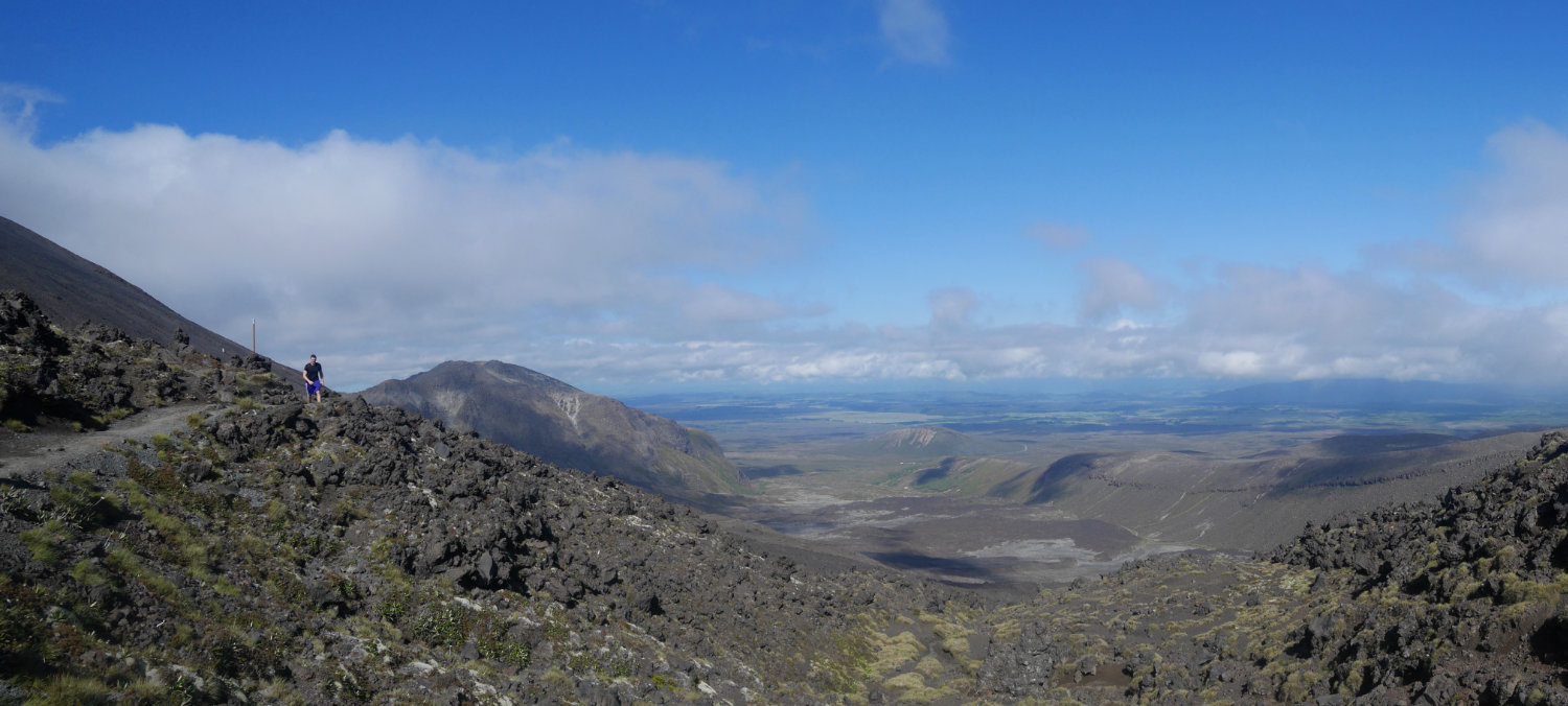 The view back through Tongariro National Park
