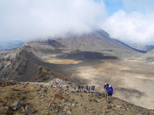 Climbing up to the red crater
