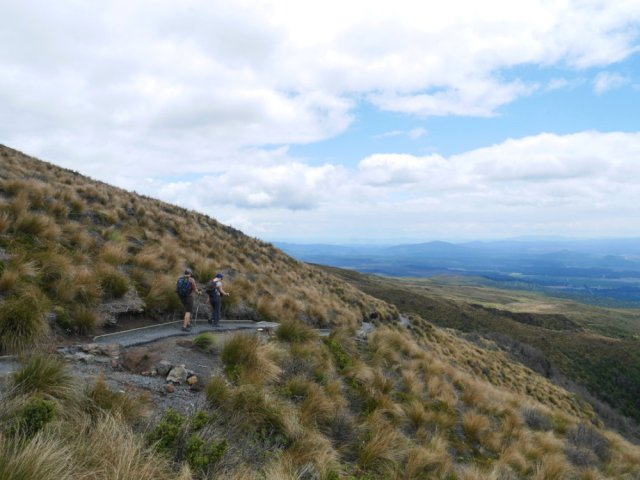 Heading down towards the Ketetahi side of the mountains