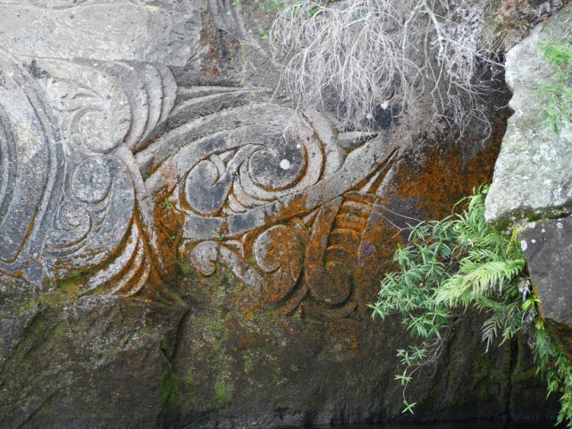 Marori Carvings near Lake Taupo - edges
